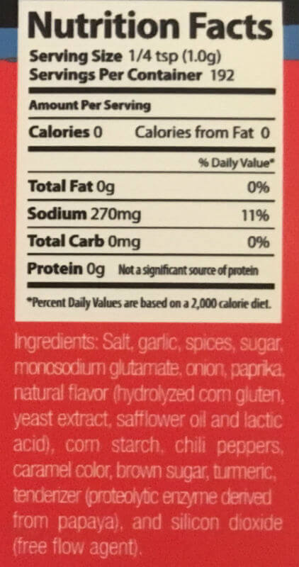 Texas Moxie Spices - Nutrition Facts