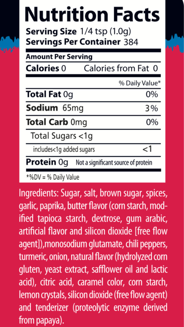 Texas Moxie Spices - Nutrition Label